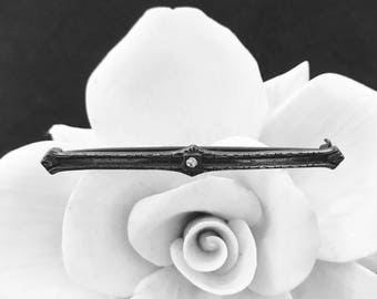 Antique bar pin brooch silver finish crystal stone 1910's fashion jewelry