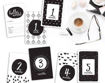 Baby Milestone Cards - Monthly Baby Milestone Cards - Gender Neutral - Black and White Milestone Cards - Printable Milestone Cards
