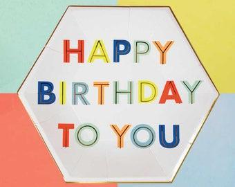 Happy Birthday Large Paper Plates (set of 8), Meri Meri Birthday Party Plates, Gold Paper Plate, Birthday Party Decor, Birthday Tableware