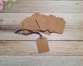 Tiny Gift tags,30 mini Kraft tags, price tags, Ivory price tags, Kraft cardstock tags, mini gift tags, tags and twine set