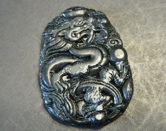 Black Hetian Jade Carved Lucky Dragon Blessing Amulet Pendant - Carved Asian Luck & Wealth Talismans - Jadeite Jade Dragon Pendant