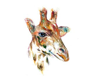 Giraffe nursery print, watercolor print, giraffe print, children wall art, animal art, jungle decor, safari kids print - R3