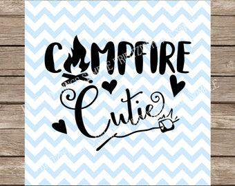 Campfire Cutie svg, Campfire svg, Campfire, Smores svg, Camping svg, ,Camp, Camping, Marshamallows svg, Bonfire svg Summer svg Summer Camper