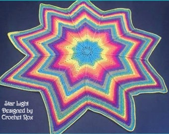 Star Light Blanket, crochet star blanket, baby blanket, afghan, throw, photo prop blanket,