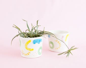Juliet shapes big mug or small planter - colourful wiggles curves and shapes ceramic cup for tea, coffee and indoor or outdoor house plants