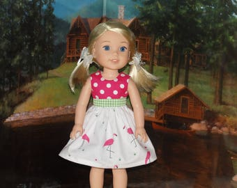 Handmade Flamingo Dress to fit 14.5 inches Dolls such as wellie wishers doll clothes AG