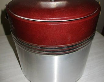 Georges Briard Mid Century Faux Leather, Chrome Ice Bucket