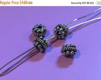 20% OFF Two (2)  BALI .925 Sterling Silver 6mm x 5mm Oxidized Granules Spacer Beads #048