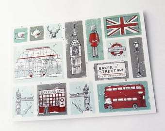 Christmas Card - London In Winter, Free Shipping, Greeting, Vintage, Drawing, Illustration, Snow, UK, United Kingdom, British, England, Bus