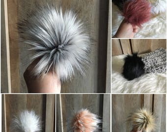12 PACK Size Large Faux Fur Pom Poms- Choose your own colours!!