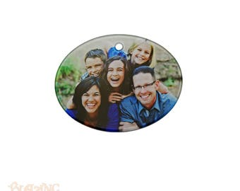 Glass Oval Personalized Photo Holiday Ornament