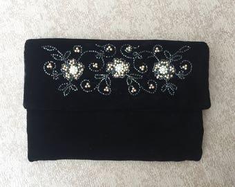 Bobbie Jerome vintage black velvet beaded clutch