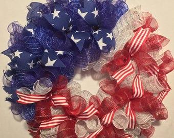 Sale 4th of July wreath, flag wreath, Fourth of July wreath, American flag decor, USA wreath, 4th of July decor, July 4th wreath, flag wreat