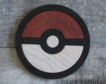 Pokemon Poké Ball Wood Coaster | Rustic/Vintage | Hand Stained and Glued | Pokeball