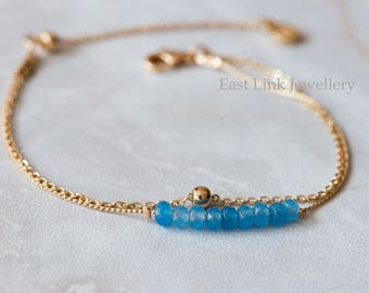 Handmade petite style 14K Gold plated natural stone March aqua birthstone bracelet birthday gift beaded chain bracelet