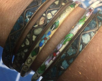 Vintage Set Of Chinese And Indian Cloisonne Bangles / Bracelets