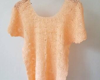 Vintage Crochet Lace Top / Knit Top / Lace Top /