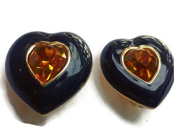 Vintage Signed Joan Rivers Navy Blue and Topaz Heart Clip On Earrings, VIN122103