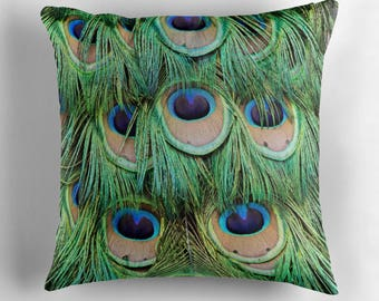 Peacock Decor, Peacock Cushion, Peacock Pillow, Peacock Feathers, Feather Pillow, Feather Decor, Feather Cushion, Blue Green Pillow