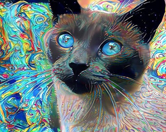 Siamese Cat Art, Cat Decor, Cat Art, Cat Art Print, Cat Wall Art, Pet Art, Psychedelic Art, Cat Print, Colorful Print, Cat Lover Gift