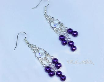 Pretty Purple and White Pearls Chandelier Earrings in bright silver plated pewter featuring Swarovski Clear Crystal AB