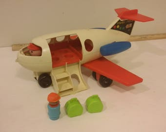 Vintage Fisher Price Fun Jet Toy Airplane With Red Wings and Pilot, 1970's