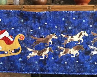 Paint horse christmas themed table runner
