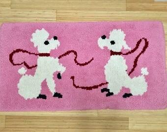 Vintage 1950s poodle rug - handmade bubblegum pink