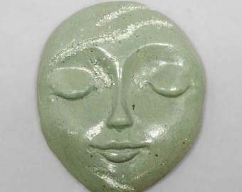 SALE - Green Faux Stone Polymer Clay Face Cabochon with Faux Druzy Art Doll Face