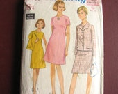 """Simplicity 7450 dress and jacket pattern, 1960s vinatge sewing pattern, size 16 bust 38"""""""
