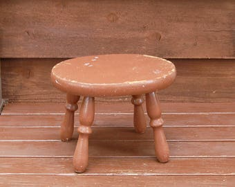 Wooden Stool, Vintage Brown Painted Foot Stool, Wood Step Stool, Little Bench