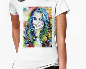 CATHERINE,DUCHESS of CAMBRIDGE watercolor portrait.2 - women t-shirt - sizes available: S M L xl 2xl