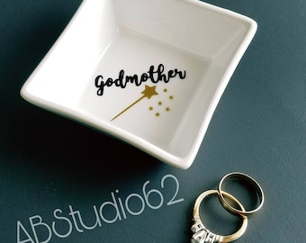 Godmother Gift, Fairy Godmother, Godmother Ring Dish, Will you Be my Godmother, Be My Godmother, Gift for Godmother, Baptism Gift
