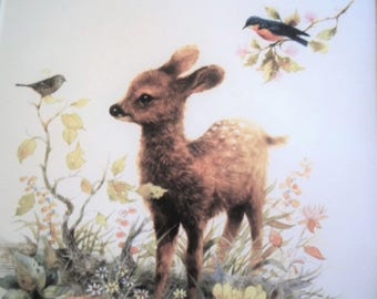 1980 Giordano Lithograph of a Fawn and Birds