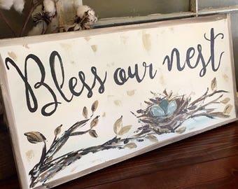 Nest art, farmhouse sign, nest with eggs painting, original art, Bless Our Nest, rustic decor