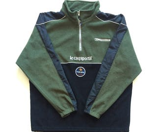 Le Coq Sportif Fleece Jacket vintage sweater size Mens Large 100% Authentic long sleeve le coq sportif euipe quilted black green