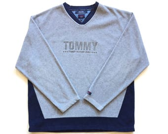 Vintage Tommy Hilfiger Jeans spell out Deadstock Long Sleeve Sweater Navy Grey Colour block Striped Fleece v neck Polyester Crew Neck xl