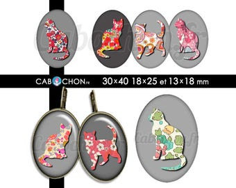 Liberty Cat 2  • 45 Images Digitales OVALES 30x40 18x25 13x18 mm  chat silhouette liberty fleurs motifs retro vintage flowers