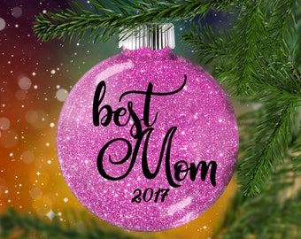 Best Mom Glitter Ornament,  Shatter Resistant Glass,  Glittered Treasure, Glitter Art Work for Mom Dad, Holiday Gift Idea for Mother Father