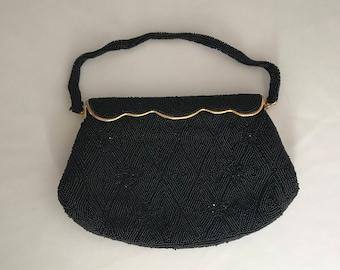Vintage 1960's DeLill Black Beaded Elegant Evening Handbag