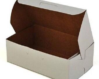 25 Bakery Candy Treats Eclair Mini Box 6-1/4 x 3-3/4 x 2 White Party Favor Boxes