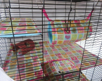 Rat hammock and cage liner 6 pc set | rat manor | rat cage accessories | double hammock | tube | tunnel | cage mats | girly | READY TO SHIP