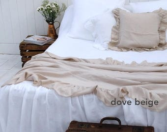 Ruffle Blanket - Linen Blanket - Ruffled Bedspread - Bed Throw - French Linen Bedding - Ruffled linen - Shabby Chic Bedding