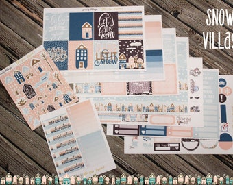Snowy Village Weekly Planner Stickers Kit - for use with Erin Condren - Happy Planner