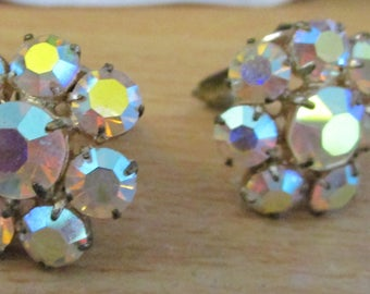 "vintage clip on earrings beautiful Aurora Borealis stones 3/4"" across good condition"