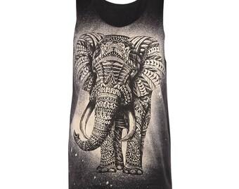 African Elephant Tattoo Black Brown T Shirt Tank Tops Men Women M