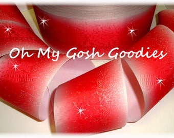 """FROSTED Glitter RED OMBRE Cheer Grosgrain Ribbon Hairbow Supplies - 3"""" Width - 5 Yards - Oh My Gosh Goodies"""