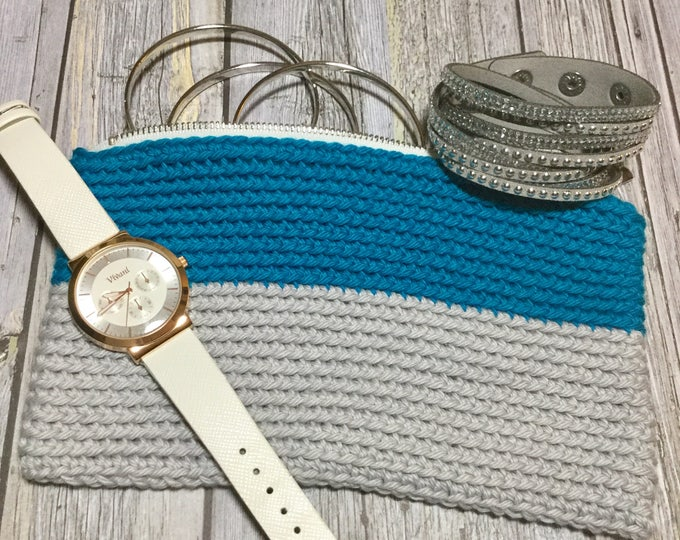 Makeup or Cosmetics Bag, Crochet Accessories Bag in Turquoise and Grey, Crochet Hook Case, Cell Phone Pouch