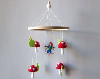 Toadstool mobile woodland nursery gnome