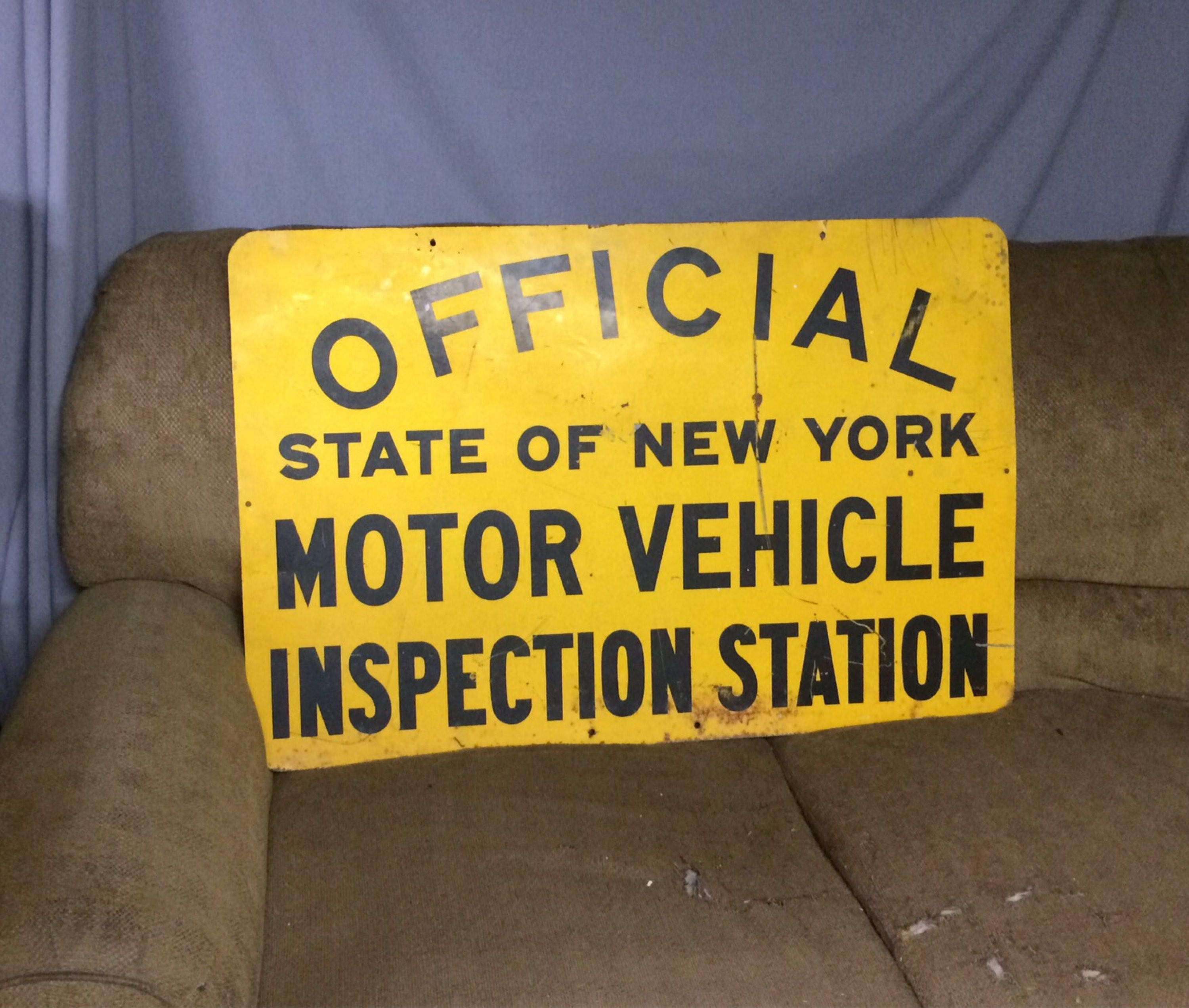 Vintage 2 Sided Yellow Official State Of Ny Inspection
